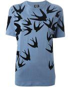 McQ by Alexander McQueen Swallow-Print Boyfriend T-Shirt - Lyst