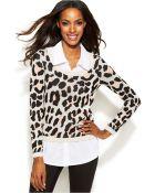 Inc International Concepts Layered-Look Animal-Print Sweater - Lyst