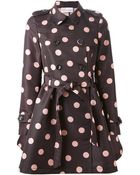 RED Valentino Belted Polka Dot Trench Coat - Lyst