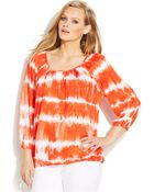 Michael Kors Michael Plus Size Three-Quarter-Sleeve Tie-Dye Peasant Top - Lyst