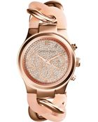 Michael Kors Mini Rose Golden Stainless Steel Runway Glitz Twist Watch - Lyst