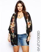 Asos Curve Exclusive Kimono In Botanical Print - Lyst