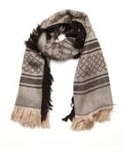 Gucci Beige, Metallic Gold And Brown Silk And Wool Blend Gg Print Scarf - Lyst