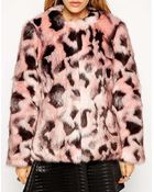 Asos Faux Fur Jacket in Abstract Animal - Lyst
