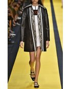 Carven Black Leather Coat with Printed Snakeskin Inset - Lyst