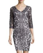 Sue Wong Three-Quarter Sleeve Lace Cocktail Dress - Lyst
