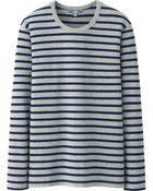 Uniqlo Men Washed Striped Crew Neck Long Sleeve T-Shirt - Lyst
