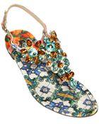 Dolce & Gabbana Maiolica Print Cotton Brocade Sandals - Lyst