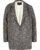 River Island Black Oversized Tweed Jacket - Lyst