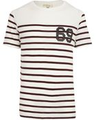 River Island Dark Red Stripe Echo Park Back Print T-Shirt - Lyst