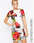 Asos Maternity Exclusive Textured Body-Conscious Dress In Multi Mirror Floral Print - Lyst