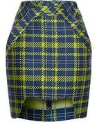 Antonio Berardi Neon Printed Plaid Mini Skirt - Lyst