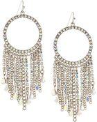 Fragments Rhinestone Hoop Tassel Earrings - Lyst