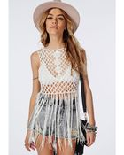Missguided Tie Back Crochet Knitted Vest Cream - Lyst