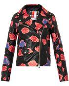 MSGM Lips-Print Leather Jacket - Lyst