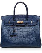 Heritage Auctions Special Collection Blue De Malte Matte Alligator 35Cm Hermes Birkin Bag - Lyst