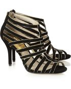MICHAEL Michael Kors Tatiana Suede And Metallic Leather Sandals - Lyst