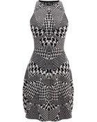 McQ by Alexander McQueen Hounds Tooth Jacquard Flirty Dress - Lyst