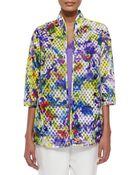 Caroline Rose Embroidered Organza Easy Jacket - Lyst