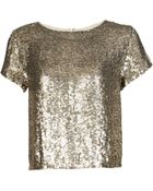 Alice + Olivia Sequin Short Sleeve Top - Lyst