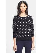 Veronica Beard Polka Dot Sweater With Shirttail Hem - Lyst