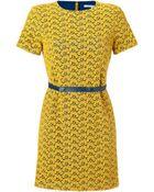 Diane von Furstenberg Old Gold/Heron Blue Lace Cindy Acorn Dress - Lyst