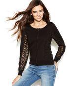 Inc International Concepts Lace-Trim Sweater Jacket - Lyst