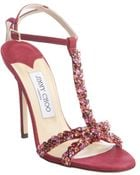Jimmy Choo Red Berry Leather Jeweled 'Tayn' T-Strap Sandals - Lyst