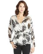 Rachel Zoe Grey And Black Silk Blend Floral Burnout Print Wrap Blouse - Lyst