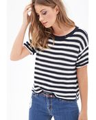 Forever 21 Striped Knit Crewneck Sweater - Lyst