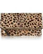 Clare V. Foldover Leopardprint Calf Hair Clutch - Lyst