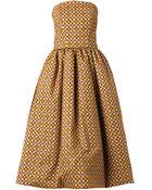 Stella Jean Elda Round-Print Strapless Dress - Lyst
