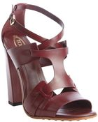 Tod's Maroon Strappy Leather Heel Sandals - Lyst