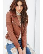 Forever 21 Quilted Faux Leather Moto Jacket - Lyst