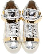 Giuseppe Zanotti Silver Foil Crinkled London Canaveral High_Top Sneakers - Lyst
