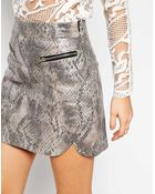 Goldie Step Out Skirt In Snakeskin Effect With Zip - Lyst