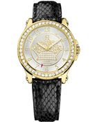 Juicy Couture Women'S Pedigree Black Embossed Leather Strap Watch 38Mm 1901203 - Lyst