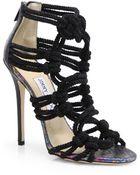 Jimmy Choo Kattie Zip-Front Strappy Leather Sandals - Lyst