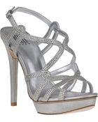 Pelle Moda Flirt Evening Sandal Silver Leather - Lyst