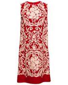 Dolce & Gabbana Cady Embroidered Sleeveless Shift Dress - Lyst