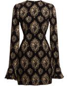 Dolce & Gabbana Sacred Heart Print Cady Bell Sleeve Dress - Lyst