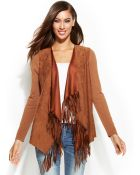 Inc International Concepts Fringed Open-front Mixed-media Sweater - Lyst