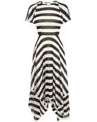 Karen Millen Striped Fluid Jersey Dress - Lyst