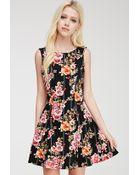 Forever 21 Fluted Floral Print Dress - Lyst