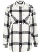 River Island Cream Check Placement Pocket Oversized Shirt - Lyst