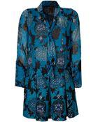 Anna Sui Cotton Blend Printed Dress - Lyst