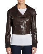 Alice + Olivia Massie Reptile-Embossed Leather Bomber Jacket - Lyst