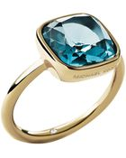 Michael Kors Gold-Tone And Blue Stone Ring - Lyst