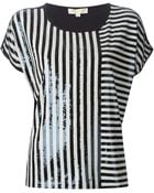 MICHAEL Michael Kors Striped Sequin Top - Lyst