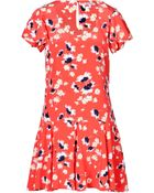 Juicy Couture Silk Feather Floral Print Dress In Persimmon - Lyst
